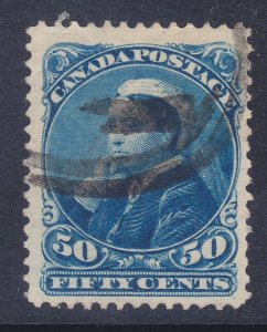 Canada 47 Used 1893 50c Deep Blue 50c Queen Victoria VF-XF Scv $85.00