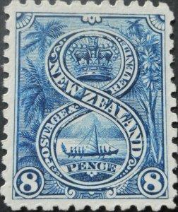 New Zealand 1899 Eight Pence p11 SG 266 mint
