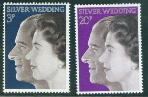Great Britain Scott 683-684 25th Anniversary 1972  set MNH**