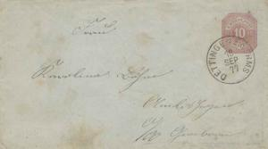 Germany Wurttemberg 10pf Numeral Envelope 1877 Dettingen a.d. Erms domestic use.