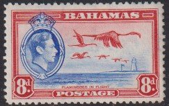 1938 - 1946 Bahamas KGVI Flamingos in Flight 8p issue MLH Sc# 108 CV $7.25 #1