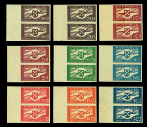 PORTUGAL 1936 AIRMAIL PROPELLER - Aviation Sc C1-10(no C8) PROOF set in NH pairs