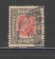 Iceland Sc  101 1915 4 aur gray & red Kings stamp used