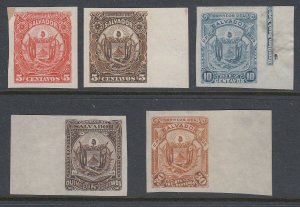 El Salvador 1895 Coat of Arms Plate Proof Colour Trial Selection. Sc 120-126 var