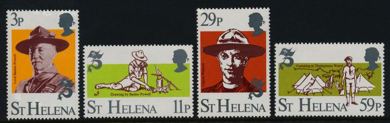 St Helena 378-81 MNH Boy Scouts, Baden-Powell
