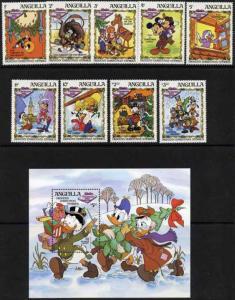 Anguilla - Disney's Dickens 9 Stamp  Set + S/S 1P-001