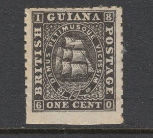 British Guiana Sc 50 MNG. 1866 1c black Seal of the Colony, no gum, perf 10