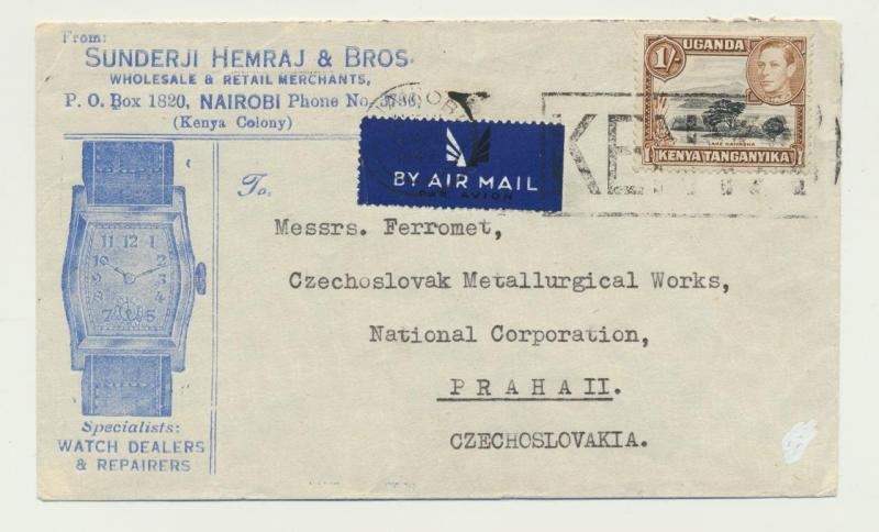 KENYA TO CZECHOSLOVAKIA 1947 WATCH DEALER ADVERT COVER, AIRMAIL 55c(SEE BELOW)