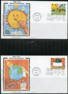 UNITED STATES COLORANO KIDS CARE  ENVIRONMENT 1995 SET OF 5  FIRST DAY COVERS