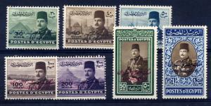 Egypt 1952 sg 384 - 391 set to £1, all UM