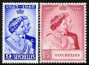 Seychelles 1948 KG6 Royal Silver Wedding perf set of 2 un...