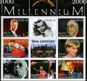 Turkmenistan 1999 Millennium 20th.Century 1900-2000 sheet Perforated mnh.vf #1