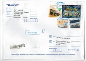 Kazakhstan 2020 Registered Cover to Poland Stamps Space Astronauts Animals Train
