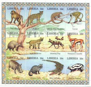Liberia. 1997. Small sheet 1807-18. Fauna of africa. MNH.