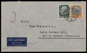 Germany 1937 Airmail to Brazil Cover 72875