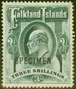 Falkland Islands 1904 3s Green Specimen SG49s Fine & Fresh Unused