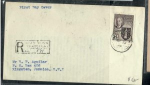VIRGIN ISLANDS COVER (PP2507B)  1952 KGVI 24C FDC REG FDC TO JAMAICA