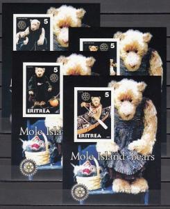 Eritrea, 2001 Cinderella issue. Mole Island Bears 4 IMPERF s/sheets. Rotary Logo