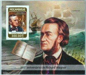 A1358- MOZAMBIQUE, ERROR, MISPERF, Souvenir s: 2016 Richard Wagner, Music, Ships