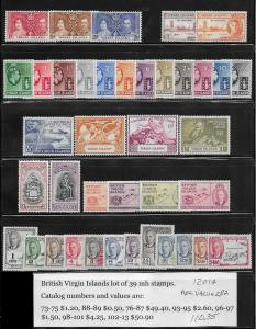 British Virgin Islands 39 different mh stamps 2017 SCV $110.35 - avg. cv $2.80