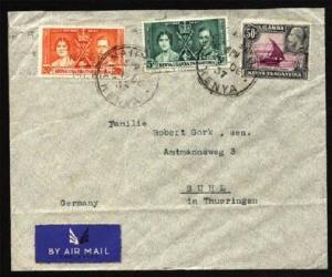 KENYA UGANDA TANGANYIKA 1937 airmail cover Nairobi to Germany..............81672
