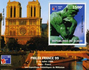 Chad 1999 Rodin le Penseur Philexfrance'99 Exhibition s/s Perforated Mint (NH)