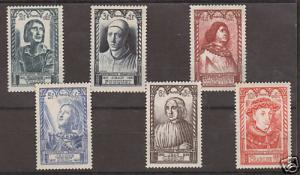 France Sc B207-B212 MLH. 1946 Intellectuals, cplt set.