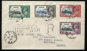 Grenada1935 KGV Jubilee set on registered cover