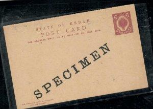 MALAYA  KEDAH COVER (P0307B)  3C REPLY PSC UNUSED SPECIMEN