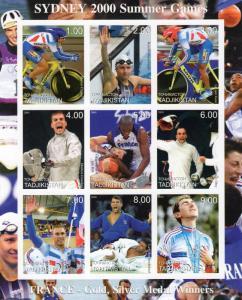 Tadjikistan  2000 Sydney Summer Olympics Sheetlet (9) IMPERFORATED MNH