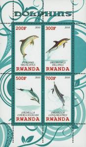 Rwanda Dolphin Ocean Fauna Marine Life Souvenir Sheet of 4 Stamps Mint NH