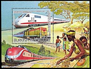 Burkina Faso 770, MNH, 150th Anniversary of German Railways souvenir sheet