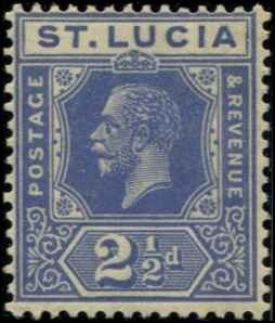 St Lucia SC# 81a SG# 99a KGV 3d MH DULL BLUE wmk 4 with mount