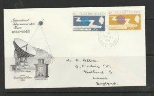 Falkland islands 1965 ITU FDC Illus, Neat Handwritten address