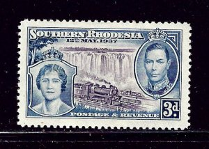 Southern Rhodesia 40 MH 1937 KGVI Coronation (Train)