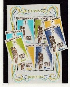 BOTSWANA (SP18) # 54-57,57a VF-MNH VARc  1969 CHRISTMAS STAMPS & SOUVENIR SHEET