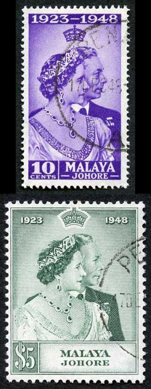 Malayan States Johore SG131/2 1948 Silver Wedding Set Fine Used