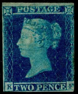 SG14, 2d blue, LH MINT. Cat £6250. KF