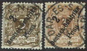 GERMAN EAST AFRICA 1896 EAGLE 3PF 2 SHADES USED