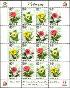 Angola 2011 Flowers Peonies Sheet of 16 MNH