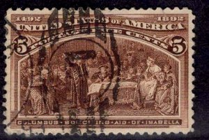 US Stamp #234 5c Columbian USED SCV $8.50