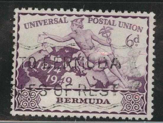 BERMUDA Scott 140  used 6d UPU 1949 stamp