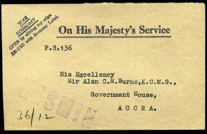 Gold Coast 1942 OHMS Printed Envelope Sir Alan Burns RESMIN cachet