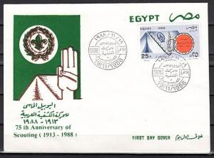 Egypt, Scott cat. 1379. 75th Anniversary Scouts issue on a First Day Cover.