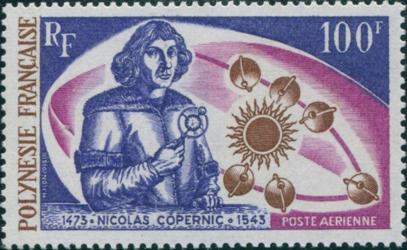French Polynesia 1973 Sc#C95,SG166 100f Copernicus and Planets MNH