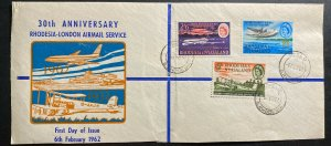 1962 Gwelo Southern Rhodesia First Day Cover FDC 30th Anniversary London Service