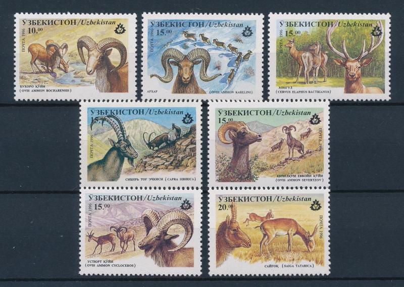 [40025] Uzbekistan 1996 Wild Animals Wild sheep Ibex Saiga MNH