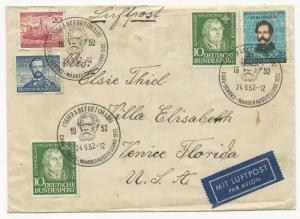 Germany Scott #688-691 on Cover September 24, 1952 Air Post to Venice, FL. USA