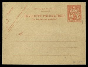 fr006 France Telegraphe Enveloppe Pneumatique 2 Francs orange red unused