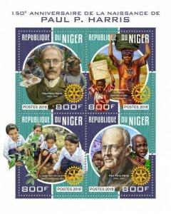 HERRICKSTAMP NEW ISSUES NIGER Paul Harris Sheetlet